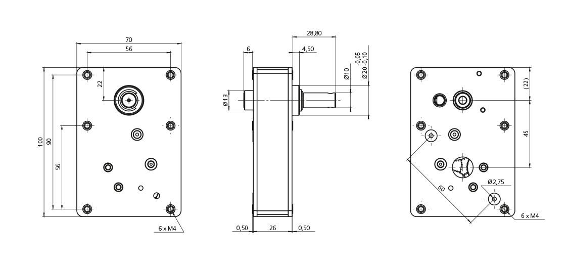 FeinwerkTechnik Geising - Getriebe Stirnradgetriebe F20 Abmaße