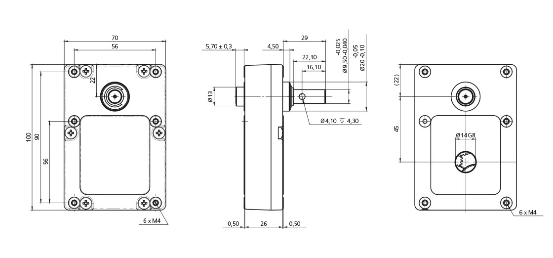 FeinwerkTechnik Geising - Getriebe Stirnradgetriebe G20Z Abmaße