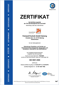 FeinwerkTechnik Geising - Zertifikat DIN EN ISO 9001-2008 Getriebe Drehen Präzisionsteile Baugruppen