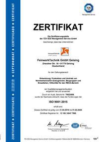 FeinwerkTechnik Geising - Zertifikat DIN EN ISO 9001-2015 Getriebe Drehen Präzisionsteile Baugruppen