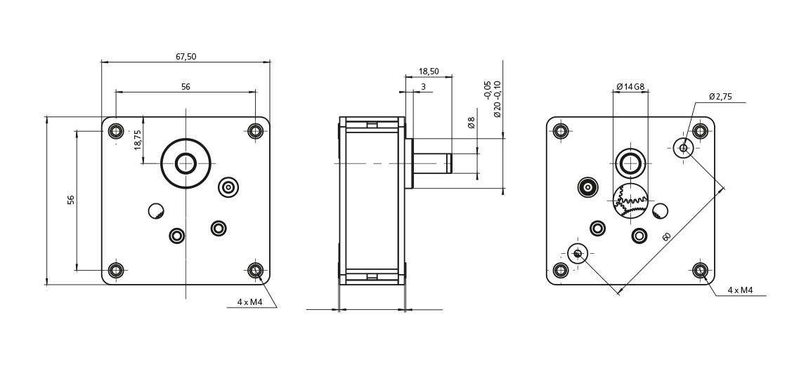 FeinwerkTechnik Geising - Getriebe Stirnradgetriebe F05 Abmaße