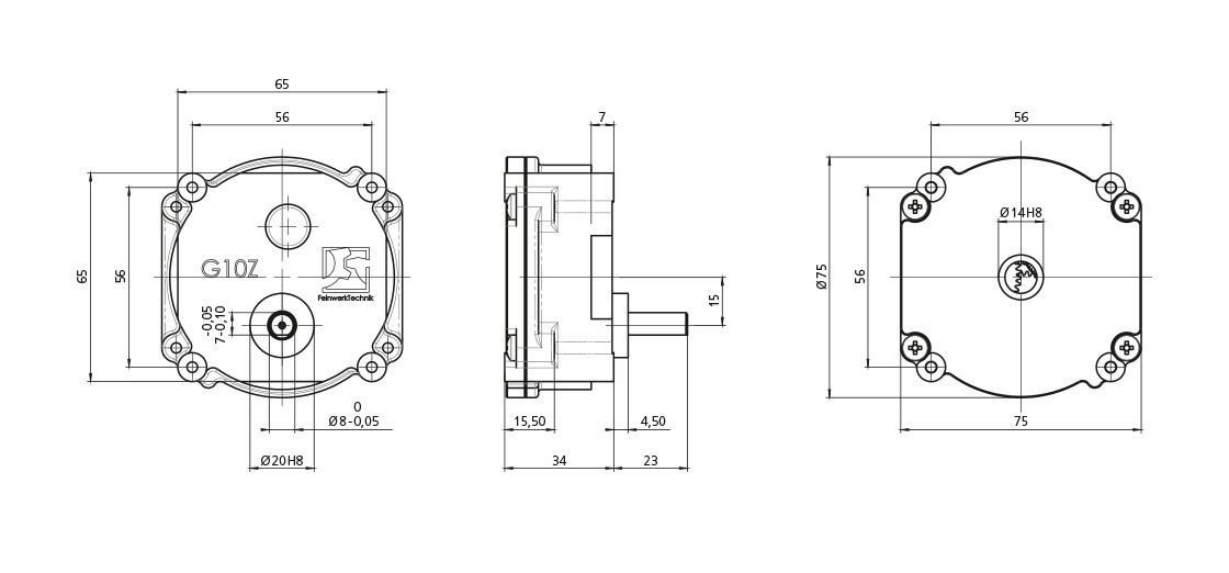 FeinwerkTechnik Geising - Getriebe Stirnradgetriebe G10Z Abmaße