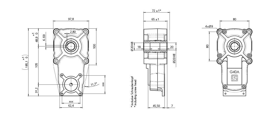 FeinwerkTechnik Geising - Getriebe Stirnradgetriebe G40A Abmaße